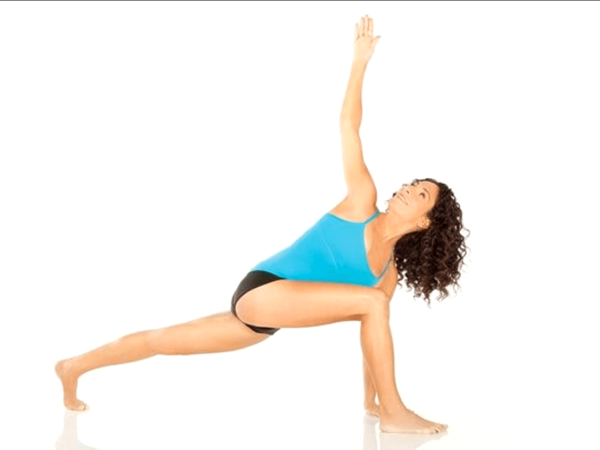 Lunge with spinal twist stretch